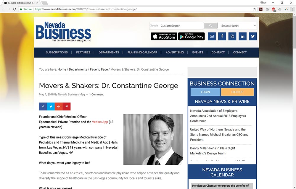 Movers & Shakers: Dr. Constantine George