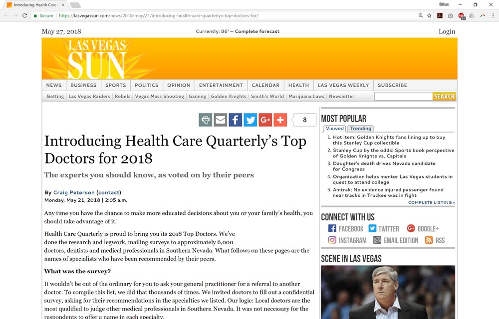 Introducing Health Care Quarterly's Top Doctors for 2018