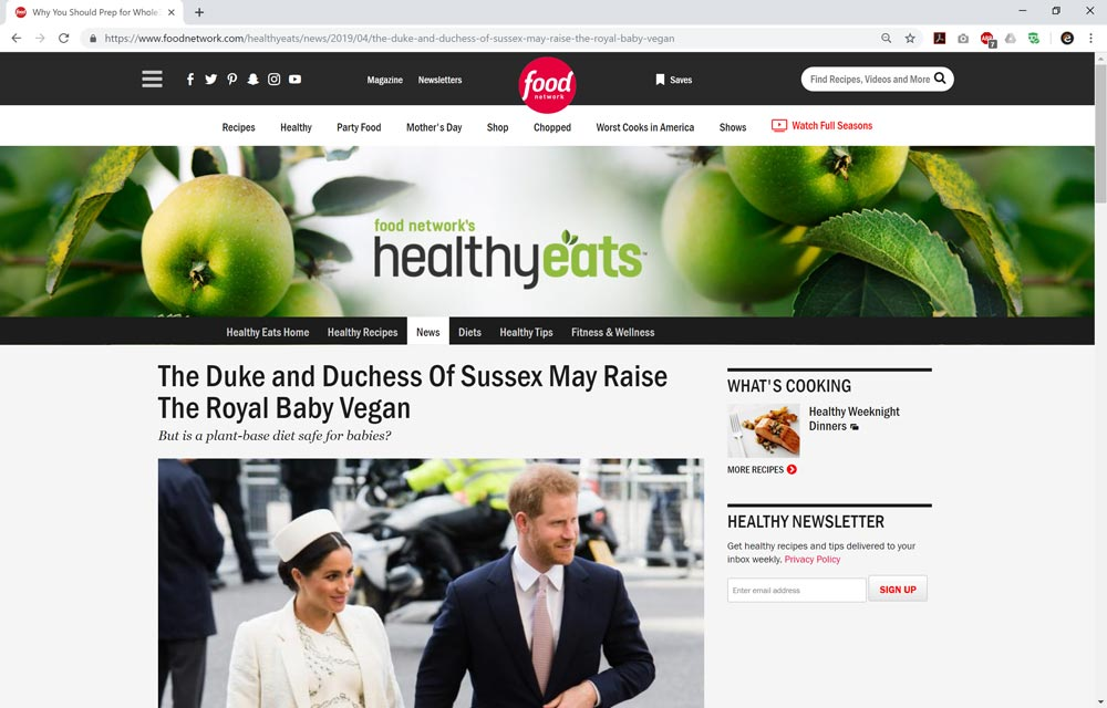 The Duke and Duchess Of Sussex May Raise The Royal Baby Vegan