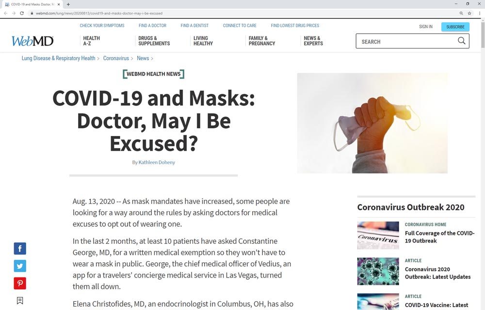 An image of the WebMD website featuring the article COVID-19 and Masks: Doctor, May I Be Excused?